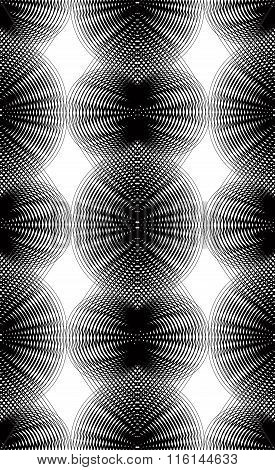 Ornate Vector Monochrome Abstract Background With Overlapping Black Lines. Symmetric Decorative Grap
