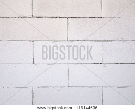Background Texture Of White Lightweight Concrete Block, Foamed Concrete Block, Raw Material For Indu
