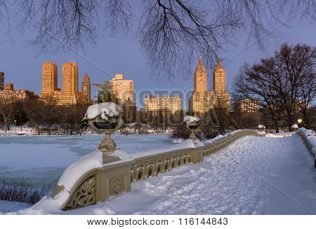Winter Dawn In Central Park And Upper West Side, NYC
