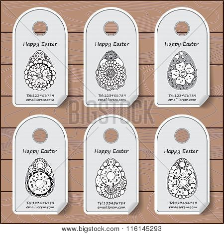 Stock Vector Set Of Label With Easter Pattern On The Wood Background. Template