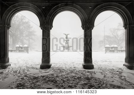 Bethesda Fountain In Central Park, Winter Snowstorm, New York City