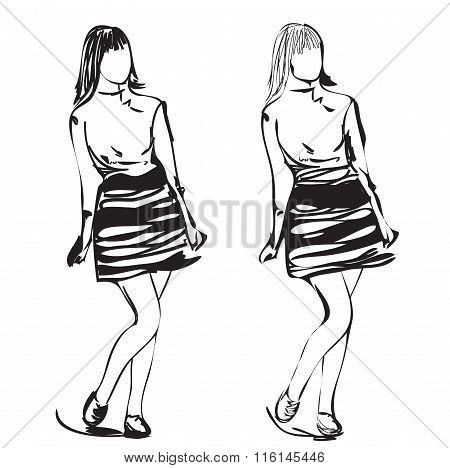 Fashion model sketch. Cartoon girl in the dress.
