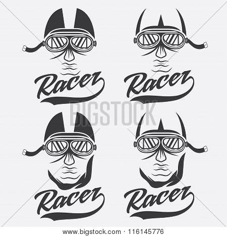 Vintage Illustration Set Of Racer Head