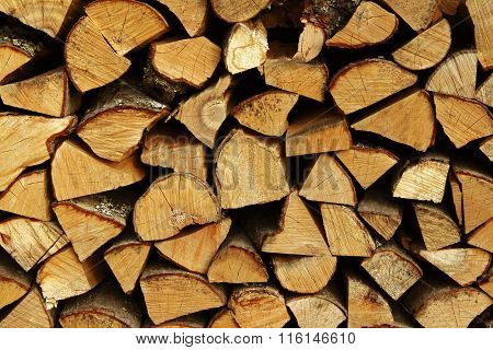 Stack Of Firewood Birch Pine Fir Wild Cherry