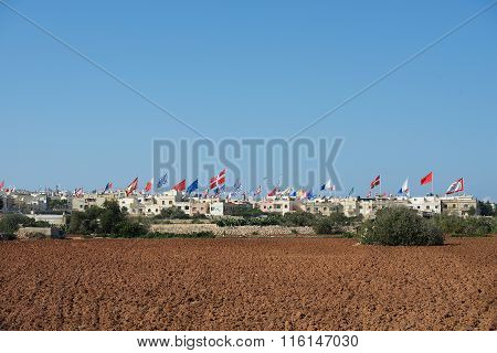Summer feast in the small maltese village on summer day in Zurrieq, Malta. Panoramic view of small v