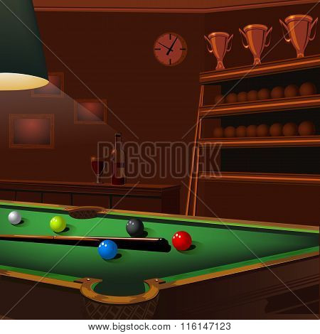 billiard balls composition on green pool table