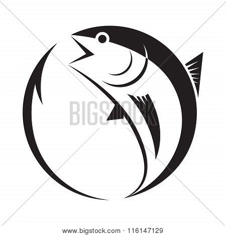 symbol tuna and hook, vector