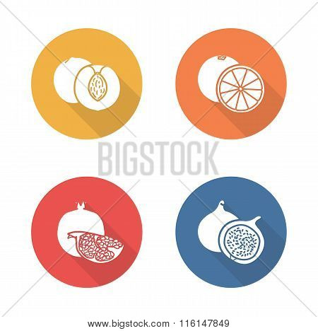 Fruits flat design icons set. Half sliced