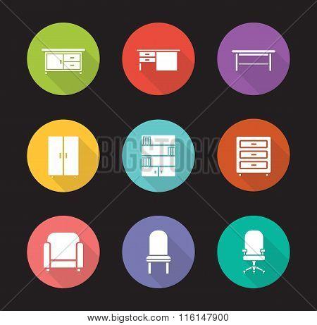 Furniture flat design icons set