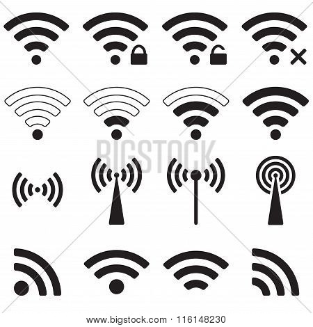Wifi or wireless icons set for remote access. Vector illustration.