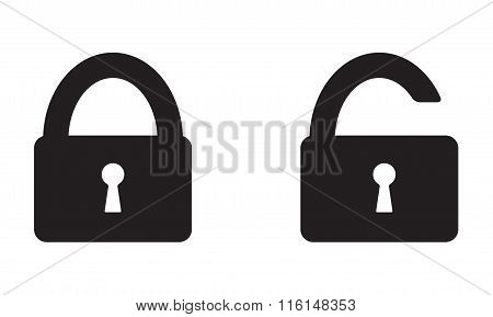 Lock Icon set on white background. Open and closed lock symbol. Vector illustration.