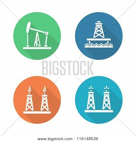 Oil industry flat design icons set