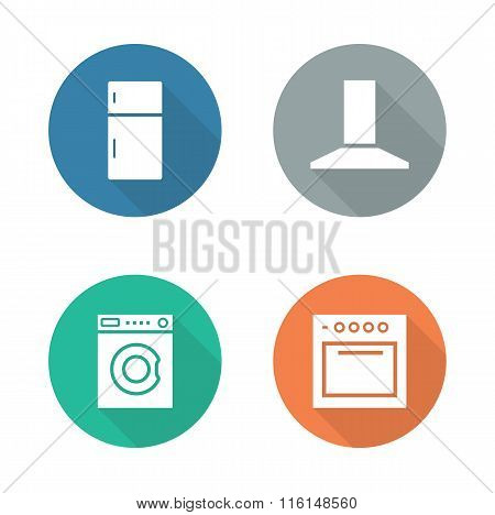 Kitchen electronics flat design icons set