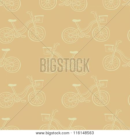 Seamless Pattern With Bicycles In Beige Colors