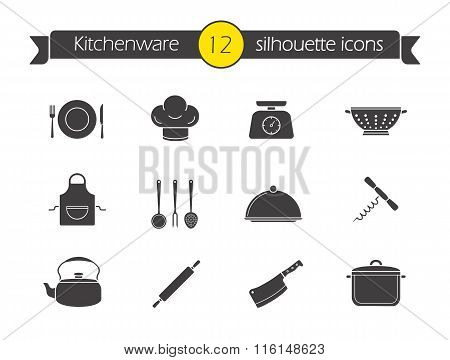 Kitchen tools silhouette icons set