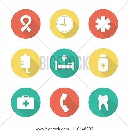 Medical flat design icons set