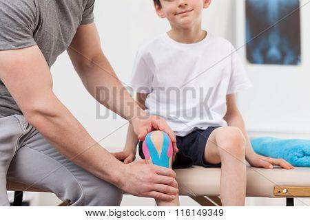 Kinesiology Tape On The Knee