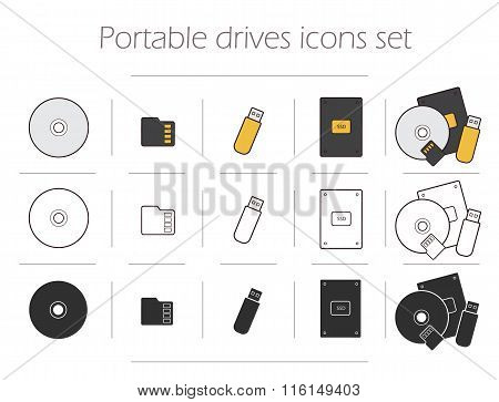 Portable drives icons set