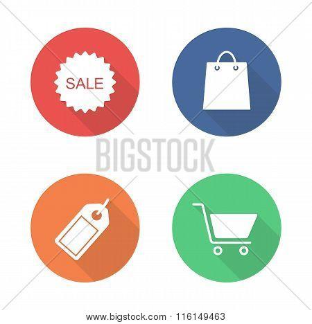 Shopping flat design icons set