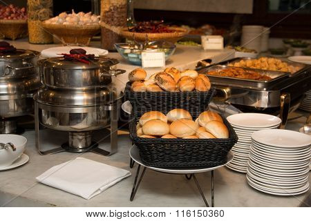 Platters And Dishes Of Food Set Up