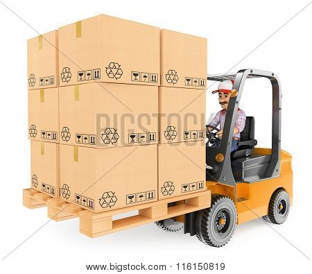 3D Worker Driving A Forklift Loaded