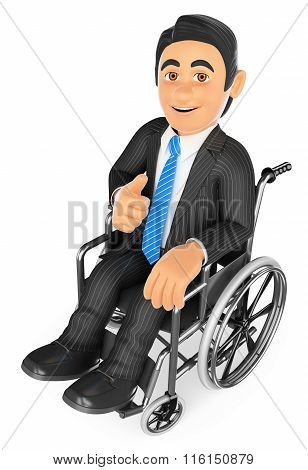 3D Handicapped Businessman With Thumb Up