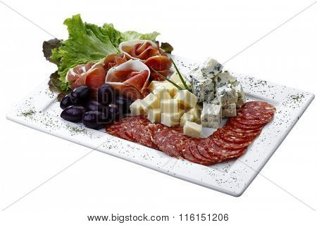 cold dish with cheese, Pepperoni, olive and salad on white background isolated