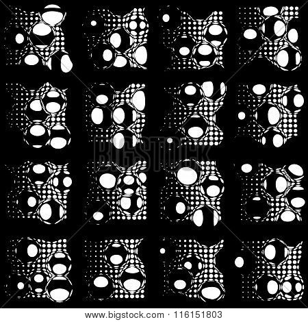 Vector Background Of Dots And Circles - Style Glitch