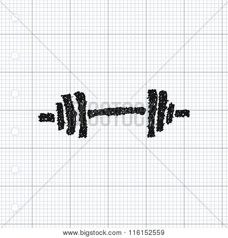 Simple Doodle Of A Barbell