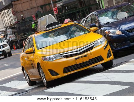 Classic Street View With Yellow Cab In New York City