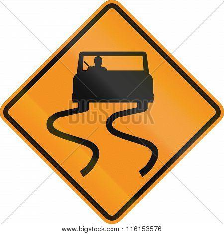 Temporary Road Control Version - Slip Danger
