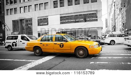 Yellow Cab In Manhattan With Black And White Background