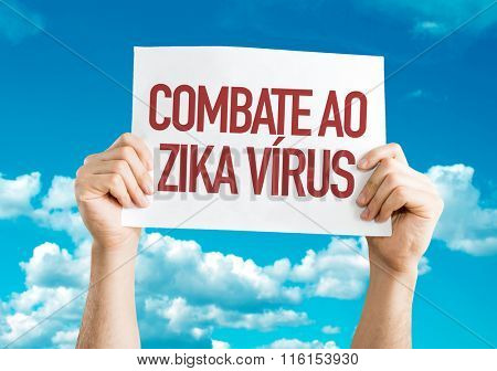 Against Zika Virus (in Portuguese) placard with sky background