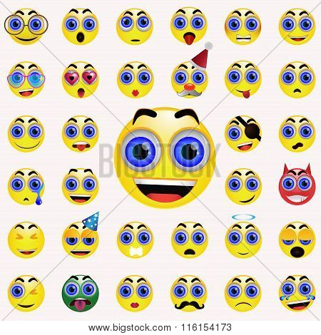 Yellow emoticon vector set