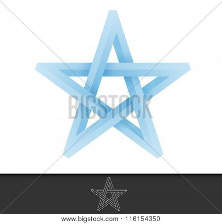 Abstract illustration of a five pointed star in infinite cycle form