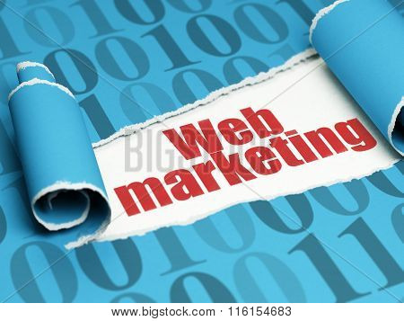 Web development concept: red text Web Marketing under the piece of  torn paper