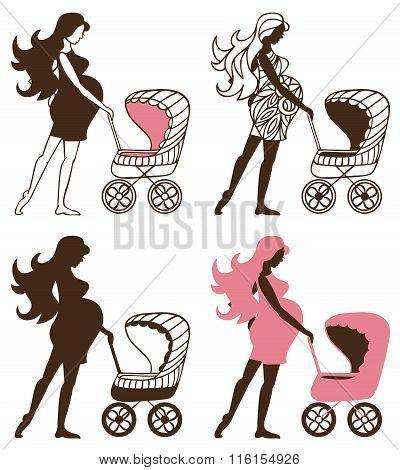 Pregnant Woman With Strollers