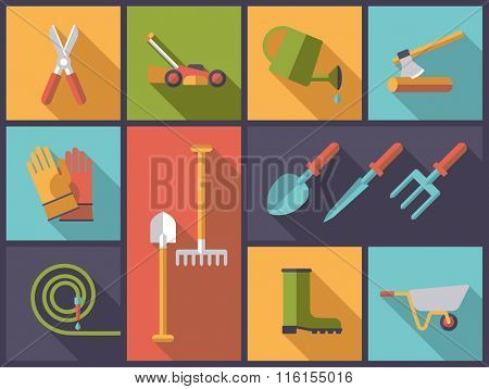 Gardening Concept. Horizontal flat design illustration with gardening tools and equipment