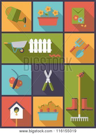Gardening Concept. Vertical flat design illustration with gardening and garden symbols