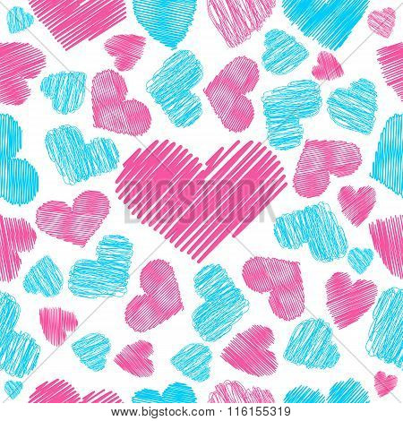 Hearts Symbol  Hatching  Pattern  Seamless