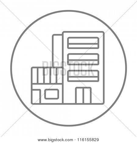 Hotel building line icon.