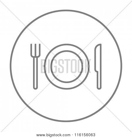 Plate with cutlery line icon.
