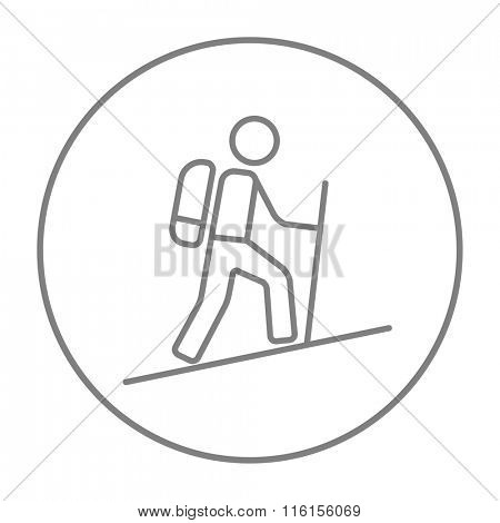 Tourist backpacker line icon.