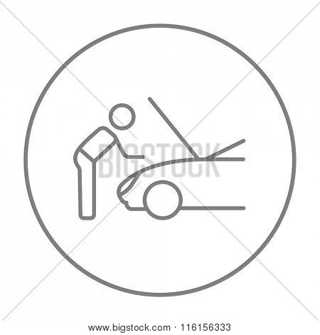 Man fixing car line icon.