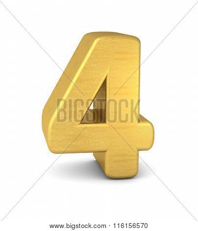3D Number 4 Gold