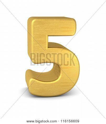 3D Number 5 Gold