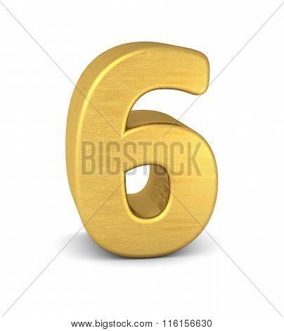 3D Number 6 Gold