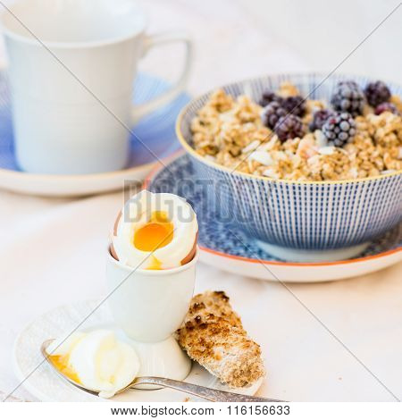 Healthy Breakfast With Boiled Egg And Granola