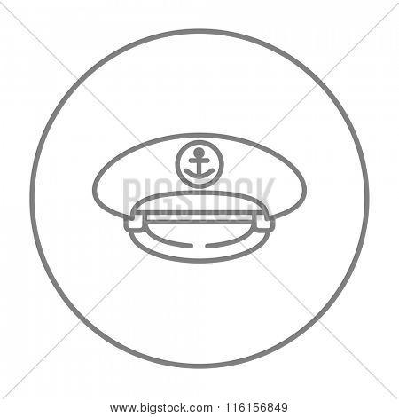 Captain peaked cap line icon.