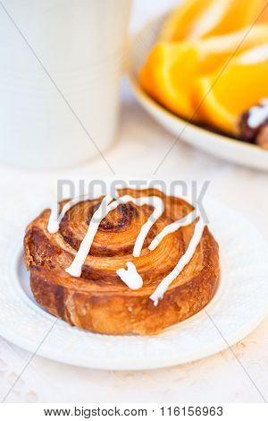 Closeup Of Cinnamon Danish Pastry Swirl